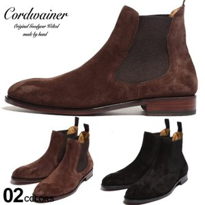 コードウェイナー メンズ ブーツ Cordwainer スエード サイドゴア ショートブーツ ブランド 靴 スウェード 革靴 黒 グッドイヤー CW17051VENECIA|zen