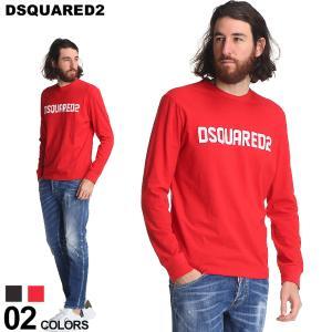 ディースクエアード メンズ Tシャツ 長袖 DSQUARED2 ロンT ロゴ クラックプリント クルーネック ブランド トップス プリント コットン D2GD0906S22507D|zen