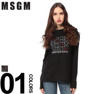 MSGM エムエスジーエム ロンT ロゴプリント クルーネック 長袖 Tシャツ カットソー ブランド レディース トップス MSL2541MDM165|zen