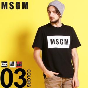 MSGM エムエスジーエム Tシャツ 半袖 BOX ロゴ プリント クルーネック ブランド メンズ トップス コットン MS2640MM67|zen