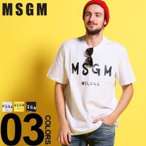 MSGM エムエスジーエム Tシャツ 半袖 BRUSHED ロゴ プリント クルーネック ブランド メンズ トップス コットン MS2640MM97|zen