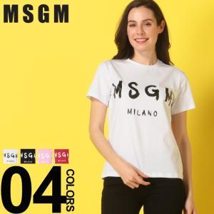 MSGM エムエスジーエム レディース Tシャツ 半袖 BRUSHED ロゴ プリント クルーネック ブランド トップス コットン MSL2641MDM60|zen