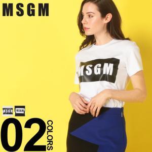MSGM エムエスジーエム レディース Tシャツ 半袖 ボックス ロゴ プリント クルーネック ブランド レディース トップス コットン MSL2641MDM95|zen