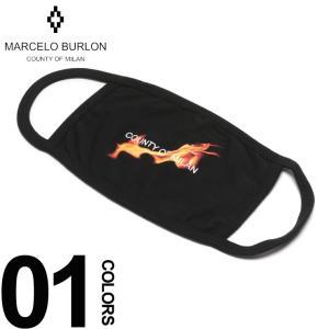 マルセロ バーロン MARCELO BURLON ブロン マスク フレイム プリント ブラックマスク FLAME MASK ブランド メンズ 黒マスク コットン MBRG03R19001133|zen