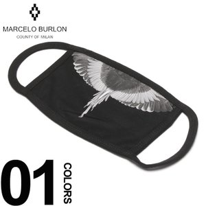 マルセロ バーロン MARCELO BURLON ブロン マスク ウィング プリント ブラックマスク WINGS MASK ブランド メンズ 黒マスク コットン MBRG03R19001018|zen