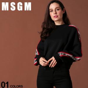 MSGM レディース エムエスジーエム スウェット トレーナー ロゴライン ブランド レディース トップス プルオーバー モックネック MSL2741MDM86|zen