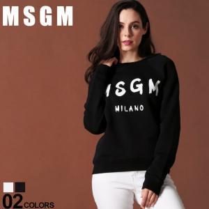 MSGM レディース エムエスジーエム スウェット トレーナー ロゴ プリント クルーネック ブランド トップス プルオーバー MSL2741MDM89|zen