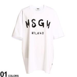 MSGM メンズ Tシャツ エムエスジーエム ロゴ プリント クルーネック 半袖 Tシャツ ブランドトップス コットン MS3040MM97|zen
