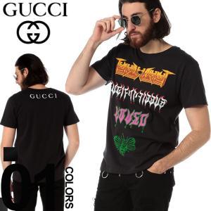 グッチ GUCCI Tシャツ 半袖 プリント メタル クルーネック バックプリント ブランド メンズ トップス GC493117XJAKE|zen