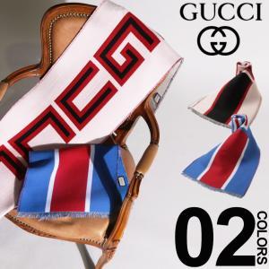 グッチ GUCCI マフラー ビッグ ロゴ ブランド レディース メンズ ウール シルク シルク混 GC5531164G636|zen