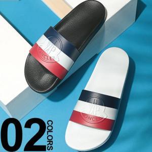 モンクレール MONCLER サンダル ロゴ トリコロール スライドサンダル ブランド メンズ シャワーサンダル MC101380001A49|zen