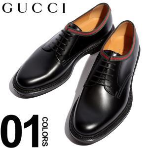 グッチ GUCCI シューズ レザー プレーントゥ レースアップ ウェブライン ブランド メンズ 革靴 本革 GC472749AZM00|zen