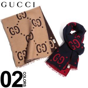 グッチ GUCCI マフラー シルク混 GGパターン ロゴ ビッグロゴ ブランド メンズ レディース ウール GC4955924G350|zen