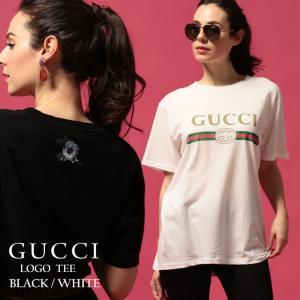 グッチ レディース Tシャツ GUCCI 半袖 ロゴ ヴィンテージ プリント ダメージ フラワー刺繍 クルーネック ブランド プリントT GCL457095X5L89|zen