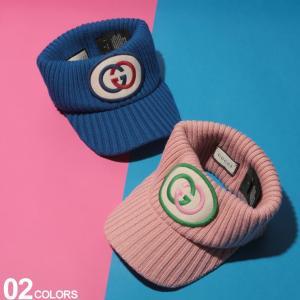 グッチ GUCCI ニットバイザー ロゴ ワッペン リブニット サンバイザー ブランド レディース 帽子 ウール ニット GCL5778253GD55|zen