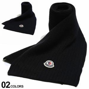 モンクレール マフラー MONCLER ウール100% ロゴ ワッペン リブ ニット ブランド メンズ レディース ウール MC3C71200A9576|zen