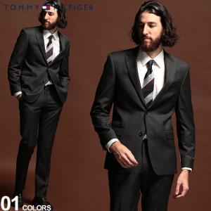 トミーヒルフィガー メンズ スーツ TOMMY HILFIGER ストレッチ グレンチェック シングル 2ツ釦 2B ブランド ノータック TMVAFF2ASB0121 zen