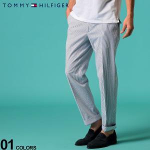 トミーヒルフィガー メンズ シアサッカー パンツ TOMMY HILFIGER ブルー ストライプ ストレッチ ノータック トラウザー スラックス ブランド TMHATHPH4A0008|zen