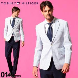 トミー ヒルフィガー メンズ ジャケット TOMMY HILFIGER ストレッチ シアサッカー ストライプ シングル 2ツ釦 ブランド テーラード TMTREVORATI0001 zen