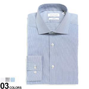 カルバンクライン メンズ Calvin Klein ストレッチ 形態安定 ホリゾンタルカラー 長袖 ドレスシャツ SLIM ブランド ワイシャツ Yシャツ イージーケア CK33K3767|zen