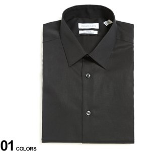 カルバンクライン メンズ Calvin Klein レギュラーカラー 長袖 ドレスシャツ SLIM ブランド ビジネス ワイシャツ Yシャツ ブラックシャツ 黒 CK33K2479|zen