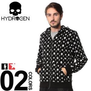 ハイドロゲン HYDROGEN パーカー スウェット モノグラム プリント フルジップ ブランド メンズ ドクロ スカル フード ジップパーカー HY230638 zen