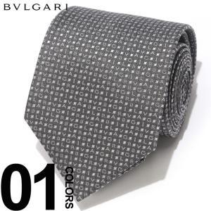 ブルガリ BVLGARI ネクタイ シルク 父の日100% ミニロゴ FORMAL GRAY ブランド メンズ ギフト プレゼント タイ シルク 父の日 BLG243394S9|zen