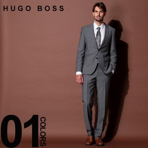 ヒューゴ ボス HUGO BOSS スーツ ウール100% ミニドット シングル 2ツ釦 2B グレー ブランド メンズ 総裏 シングルスーツ ノータック HBRJS10205448|zen