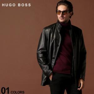 ヒューゴ ボス HUGO BOSS コート ラムレザー レザージャケット 羊革 中綿 スタンドカラー ハーフコート ブランド メンズ アウター HBARIKO10221640|zen