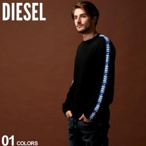 DIESELのクルーネック ニット。アームロゴテープがアクセントになったクールなデザイン。生地にはコ...