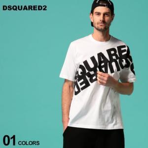 ディースクエアード メンズ Tシャツ DSQUARED2 半袖 ロゴ プリント クルーネック WHITE ブランド トップス ロゴT ビッグシルエット D2GD0664S22427|zen