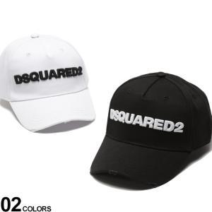 ディースクエアード メンズ キャップ DSQUARED2 ダメージ コットン ロゴ アジャスター キャップ ブランド 帽子 レディース 刺繍 黒 白 D2BCM002805C001 zen
