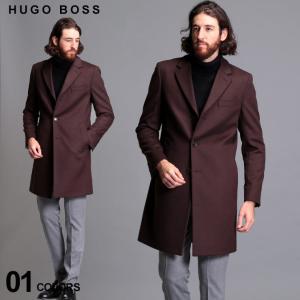 ヒューゴボス メンズ コート HUGO BOSS ウール カシミヤ チェスターコート 茶色 SLIM FIT ブランド アウター スリムフィット カシミア HBNYE10229065|zen