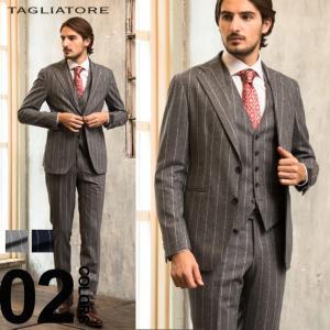 タリアトーレ スーツ TAGLIATORE ストライプ シングル 2ツ釦 スリーピース メンズ ブランド 紳士 ビジネス 3P ジレ ベスト ウール ノータック TG22A0107RIZ181|zen