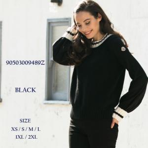 モンクレール MONCLER ニット セーター カシミヤ混 ウール クルーネック ブランド レディース トップス リブライン MCL90503009489Z|zen