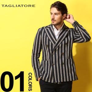 タリアトーレ TAGLIATORE ジャケット ダブル 麻 ストライプ 6ツ釦 リネン ジャケット ブランド メンズ シルク TGMJ20K85REG049|zen