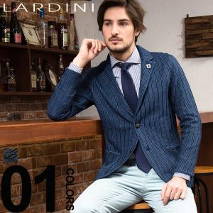 ラルディーニ LARDINI ジャケット ニット シングル 2B リネンコットン ストライプ 2ッ釦 ブランド メンズ LDJM2250003|zen