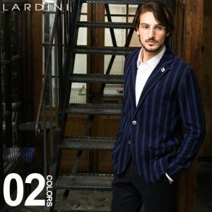 ラルディーニ ニットジャケット LARDINI シングル 2ツ釦 2B ブートニエール ブランド メンズ ウール ストライプ LDLJM22IG51026|zen