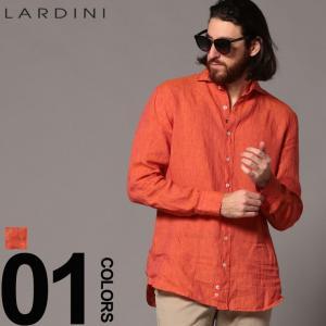ラルディーニ LARDINI リネンシャツ 長袖 麻100% ホリゾンタルカラー 麻シャツ オレンジ EGCIRO ブランド メンズ トップス ブートニエール LDCIROEGC1007 zen