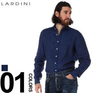 ラルディーニ LARDINI リネンシャツ 長袖 麻100% ホリゾンタルカラー 麻シャツ ネイビー EGCIRO ブランド メンズ トップス ブートニエール LDCIROEGC1007 zen