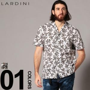 ラルディーニ LARDINI リネンシャツ 半袖 オープンカラー 開襟 柄シャツ 麻シャツ EGGIAN ブランド メンズ トップス ボタニカル ブートニエール LDGIANEGC1042 zen