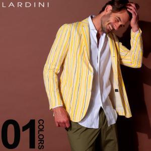 ラルディーニ LARDINI ジャケット コットン ブートニエール ストライプ シングル 段返り3ツ釦 3B ブランド メンズ テーラード サマージャケット LDCM21RS52565|zen