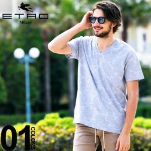 エトロ ETRO Tシャツ 半袖 ペイズリー Vネック ブランド メンズ トップス 総柄 ET1Y1219301|zen