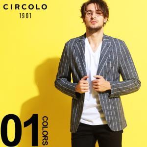 CIRCOLO 1901 チルコロ1901 ジャケット ストライプ コットンピケ ジャージ シングル 2つ釦 2B ブランド メンズ アウター テーラード CICN2221|zen