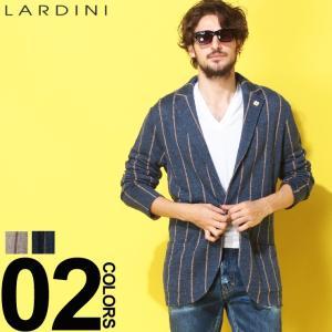 ラルディーニ LARDINI ジャケット ブートニエール 麻100% ストライプ シングル リネンニット 麻ジャケット ブランド メンズ リネン テーラード LDLJM56EG52009|zen
