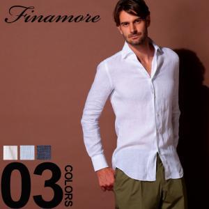 フィナモレ Finamore シャツ 長袖 リネン 麻100% 無地 イタリアンカラー ブランド メンズ トップス リネンシャツ 麻シャツ FIP9001USTICA|zen