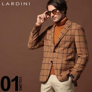 ラルディーニ LARDINI ジャケット ウール ウィンドペン 段返り3ツ釦 3B シングル ブランド キャメル メンズ アウター テーラード チェック LD902AEA53540|zen