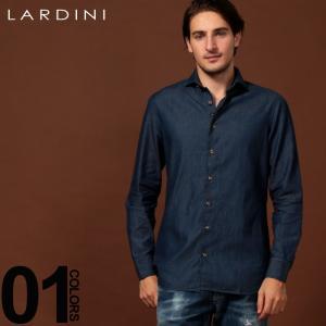 ラルディーニ LARDINI シャツ 長袖 ホリゾンタル デニムシャツ カッタウェイシャツ ブランド メンズ トップス シャツ コットン LDDIEGOILC1151|zen