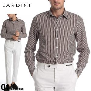 ラルディーニ LARDINI シャツ 長袖 ストライプ レギュラーカラー ブランド メンズ トップス シャツ コットン ブラウン レッド ネイビー LDDANTEILC1117|zen