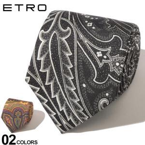 エトロ ETRO ネクタイ シルク ペイズリー ブランド メンズ タイ 黒 黄色 ET120264004|zen